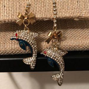 Betsey Johnson Dolphin Dangling Earrings Pre-Owned